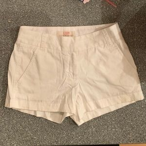J Crew 100% cotton Chino white shorts size 00